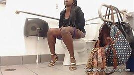 Ebony farting in public bathroom