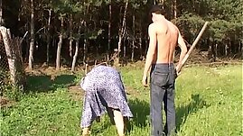 Mature Fucked By The Farm Boy Outdoors