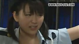 Cute police girl tied and vibrated