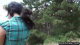 Sexy teen girl anal fucking outdoor POV doggy style
