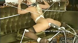 Blonde chick gets her thighs and ass spanked